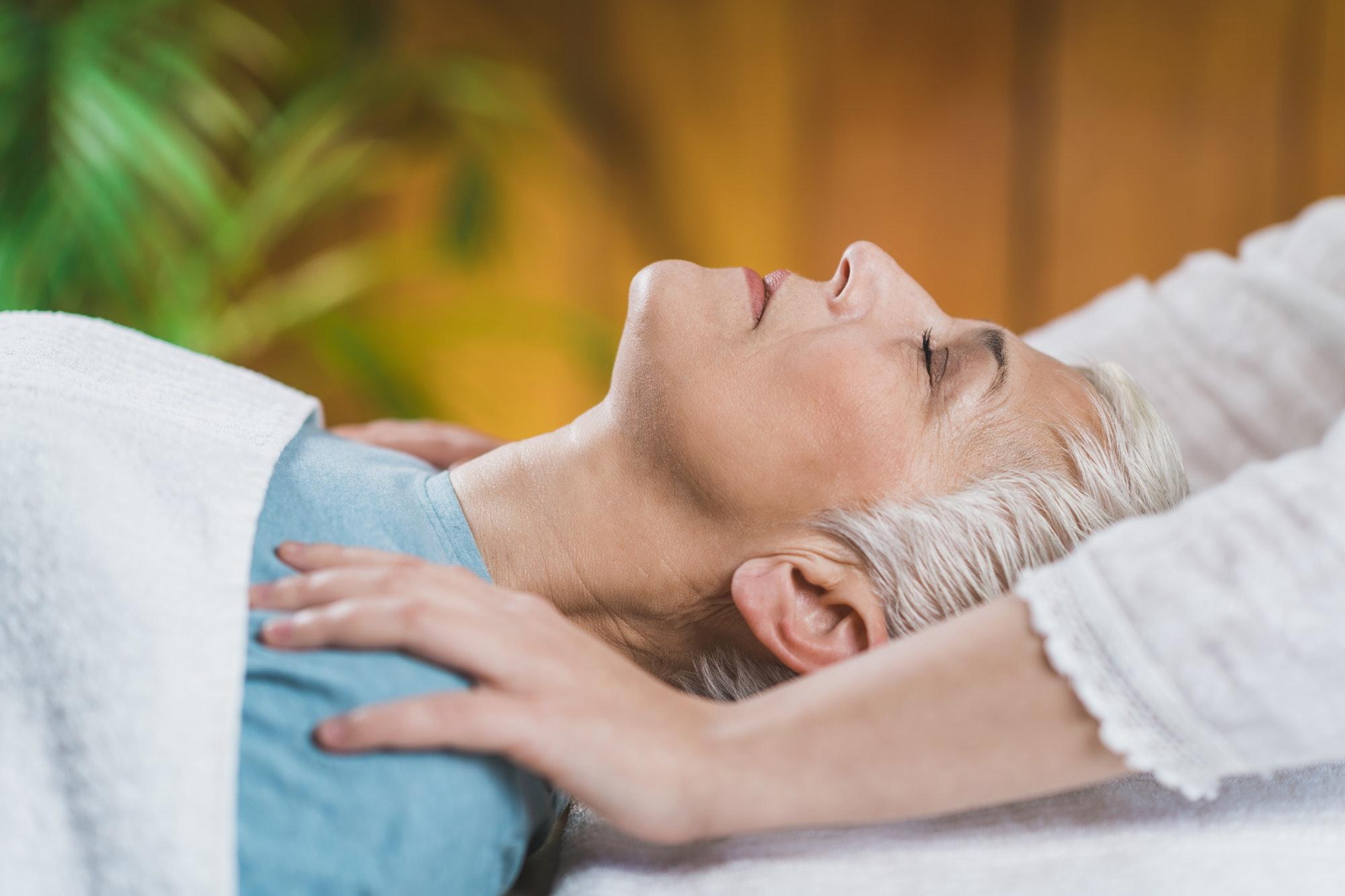 Ayurveda Therapy. Balancing Shoulder Marmas Energy Points